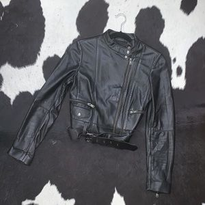 Banana Republic black cropped leather moto jacket